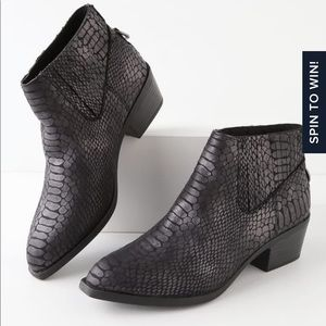 The Dolce Vita Black Snake Stella Suede Booties